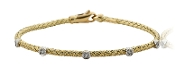 "0.20 ct. t.w. Diamond Braided 14K Gold 7"" Station Bracelet"