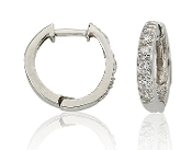 0.10 Brilliant Round Cut Pave Diamond 14K Gold Hoops
