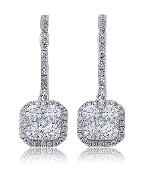 1.47 ct. t.w. Brilliant Diamond Halo Pave 14K Gold Earring