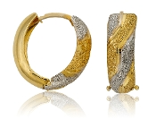 14K Two Tone Textured Gold Oval Hoops