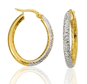 14K Two-tone Gold Serpentine Oval Tube Hoops