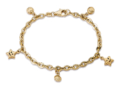 "Child's ""Wish upon a Star"" Charm 14K Gold 6"" Bracelet"