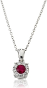 Ruby Solitaire 0.29 ct. t.w. Diamond Halo 14K Gold Pendant