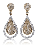 2.31 ct. t.w. Pave Diamond Double Drop 14K Gold Posts