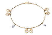 Fancy 14K Gold Two-tone Diamond Cut Marquise Bracelet