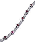 "0.25 ct. t.w. Pave Diamond & Ruby Station 18K Gold 7"" Bracelet"