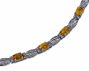 0.22 ct. t.w. Diamond & Amber Citrine 14K Gold Swirl Bracelet