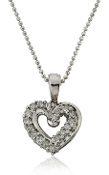 0.75 ct. t.w. Diamond Lined Double Heart 14K Gold Pendant