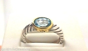 DAVID YURMAN Topaz Sterling Silver 18K GOLD Cable Classics Ring