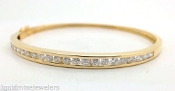 1.50 tcw Round DIAMOND Solid 14k YELLOW GOLD Hinged Bangle