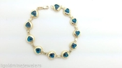 14K Yellow Gold Hearts / TURQUOISE Evil Eye Glass Beads Bracelet
