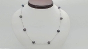 "14k White Gold Station Necklace 18"" AAA 6.5 MM Tahitian Pearl"