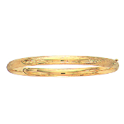 Polished 14 Karat Yellow Gold Flower Designer Etched Bangle