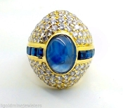 18K Gold Oval Sapphire Cabochon 2.65 tcw DIAMOND VS2-F Ring