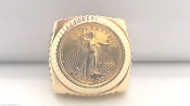 14K Fluted Ring 22K $5 Gold COIN 2000 Liberty American Eagle