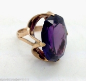 14K Yellow Gold FANCY Violet Oval AMETHYST Cocktail Ring Sz 7.5