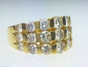 2.64 TCW Graduated SI1,H Channel Set Wide Diamond 14K Gold Ring
