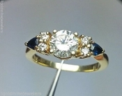14K Gold 1.00 TCW Round H Diamond Sapphire Engagement Ring