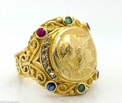 ALEXANDER THE GREAT 1/10 Gold Coin18K 750 Gemstone GOLD RING