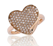0.57 ct. t.w. Pave Diamond Heart Flip 14K Gold Ring