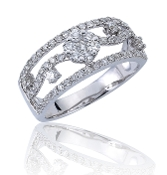0.71 ct. t.w. Pave Diamond Floral Triple Row 14K Gold Ring