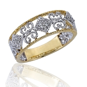 0.09 ct. t.w. Diamond Milgrain Swirl 14K Gold Wedding Band