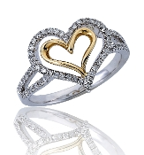 0.28 ct. t.w. Diamond Lined Double Open Heart 14K Gold Ring