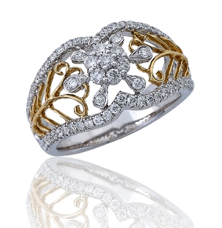 0.78 ct. t.w. Pave Diamond Flower Cluster 14K Gold Ring