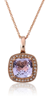 Lavender Spinel 0.09 ct. t.w.Diamond Halo 14K Gold Pendant