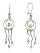 Double Circle Triple Strand Beaded 14K Gold Drop Earrings