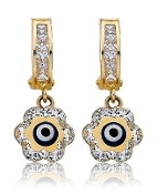"Diamond Etched Drop 14K Gold Hoop Dangling ""Evil Eye"" Flower"