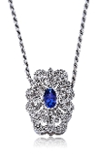 Art-Deco Sapphire 0.15 ct. t.w. Diamond 14K Gold Slide Pendant