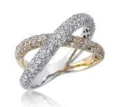 1.30 ct. t.w. Pave Diamond Crossover 14K Gold Ring