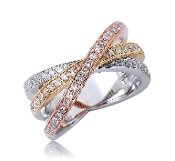 0.70 ct. t.w. Diamond Trinity Crossover 14K Tri-color Ring
