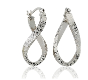 Diamond Etched Oval Infinity Wave 14K Gold Hoops