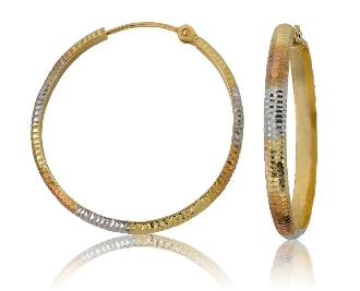 Diamond Etched 14K Tri-Tone Hoop Earrings