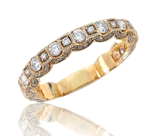 0.91 ct. t.w. Draped in Diamonds Milgrain Eternity 14K Gold Band
