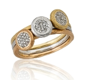 0.17 ct. t.w. Diamond Pave Disc 14K Tri-Color Gold 3 Ring Set