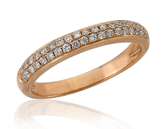 0.28 ct. t.w. Pave Diamond Two Row 14K Gold Eternity Band
