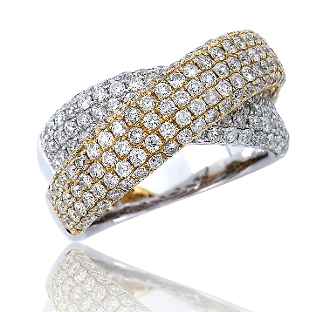 2.33 ct. t.w. Diamond Crossover 14K Gold Ring