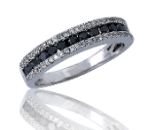 0.56 ct. t.w. Channel Black & Pave White Diamond 14K Gold Ring