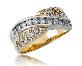 1.21 ct. t.w. Diamond Channel Pave Crossover 14K Gold Ring