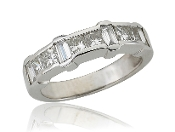 0.80 ct. t.w. Princess Baguette Diamond Wedding 14K Gold Band