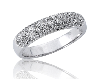 0.41 ct. t.w. Diamond Five Row Pave 14K Gold Band