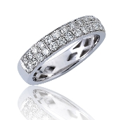 0.75 ct. t.w. Pave Diamond Double Row Anniversary 14K Gold Band