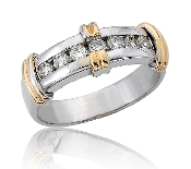 0.49 ct. t.w. Diamond Gold Bar Wedding 14K Gold Band