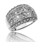Exquisite 0.35 ct. t.w.Pave Floral Diamond Wide 14K Gold Band