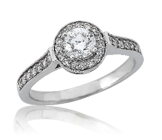 0.80 ct. t.w. Diamond Halo Pave Lined Engagement 14K Gold Ring