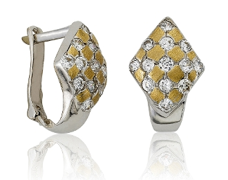 Enchanted C.Z. Serpentine/Snakeskin Drop 14K Gold Earrings