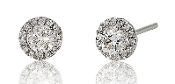 0.65 ct. t.w. Diamond Halo Set 14K Gold Stud Earrings